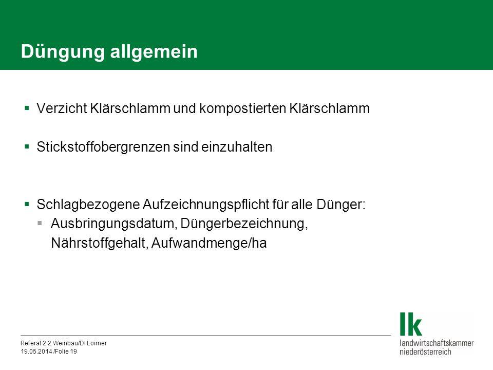 Referat 2.2 Weinbau/DI Loimer 19.05.2014 /Folie 19 Düngung allgemein Verzicht Klärschlamm und kompostierten Klärschlamm Stickstoffobergrenzen sind ein