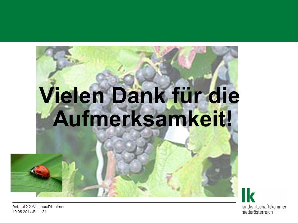 Referat 2.2 Weinbau/DI Loimer 19.05.2014 /Folie 21 Vielen Dank für die Aufmerksamkeit!