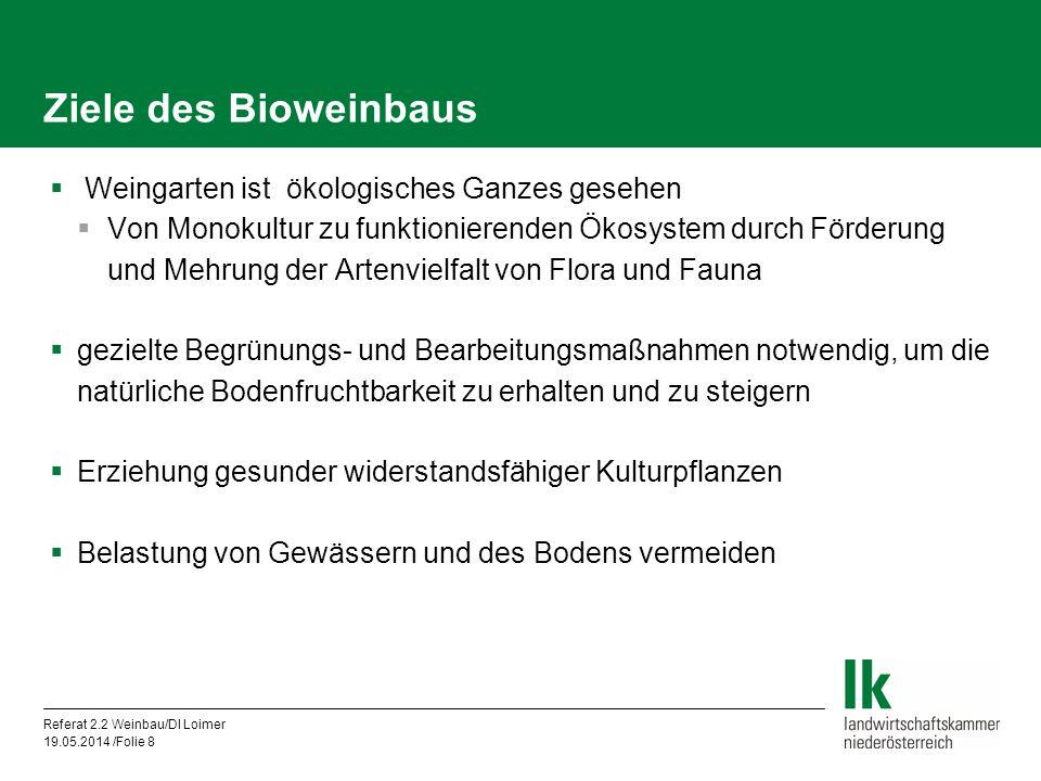 Referat 2.2 Weinbau/DI Loimer 19.05.2014 /Folie 8 Ziele des Bioweinbaus Weingarten ist ökologisches Ganzes gesehen Von Monokultur zu funktionierenden