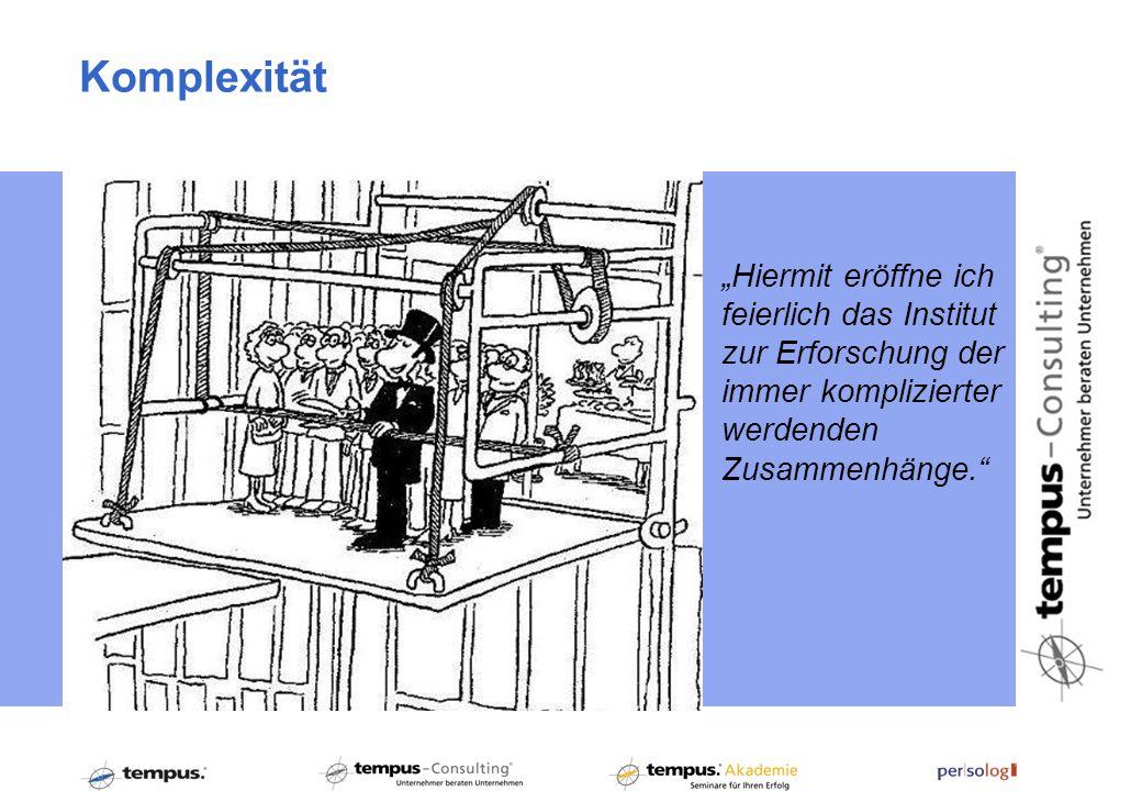 Hiermit eröffne ich feierlich das Institut zur Erforschung der immer komplizierter werdenden Zusammenhänge. Komplexität