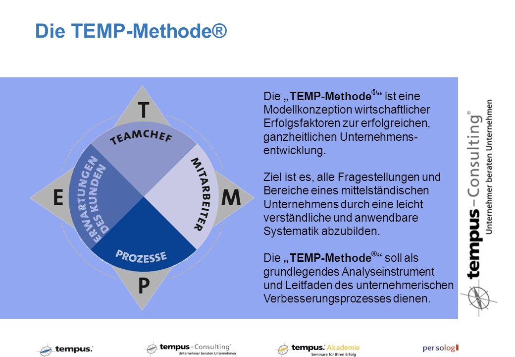 Die TEMP-Methode ® ist eine Modellkonzeption wirtschaftlicher Erfolgsfaktoren zur erfolgreichen, ganzheitlichen Unternehmens- entwicklung. Ziel ist es