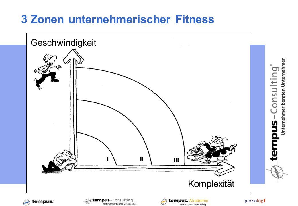 3 Zonen unternehmerischer Fitness Geschwindigkeit Komplexität