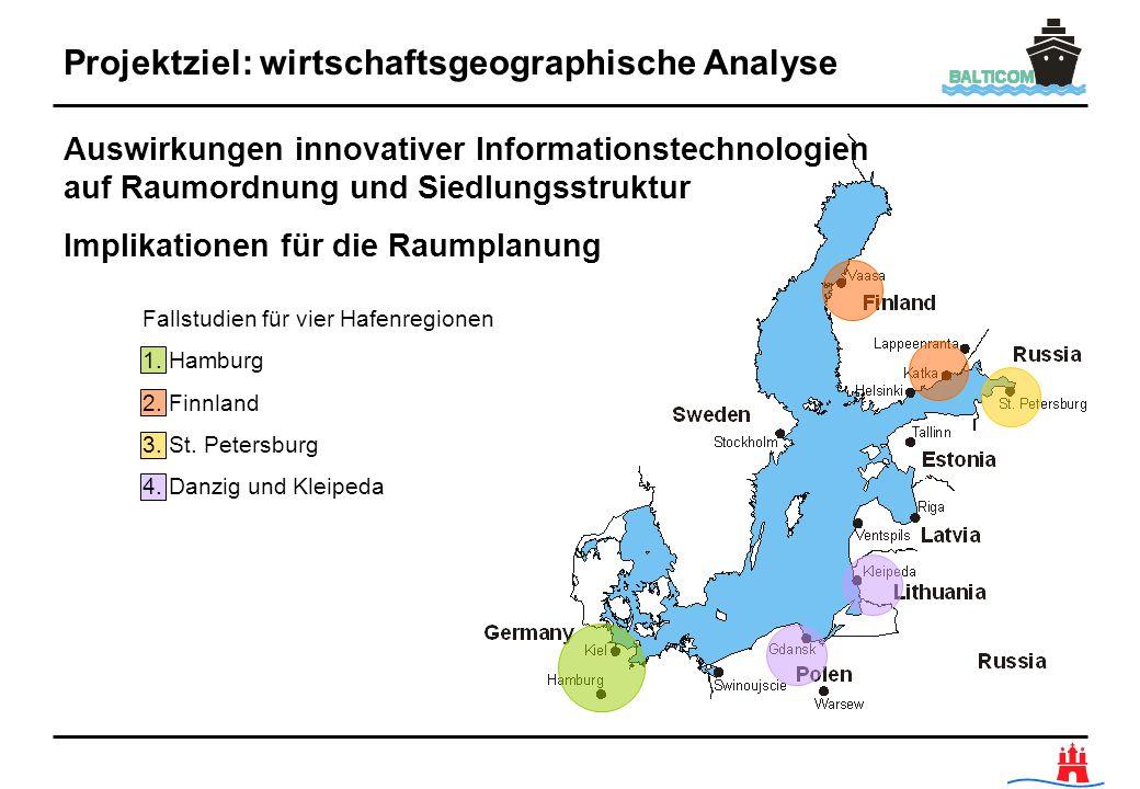 Projektziel: wirtschaftsgeographische Analyse Fallstudien für vier Hafenregionen 1. Hamburg 2. Finnland 3. St. Petersburg 4. Danzig und Kleipeda Auswi