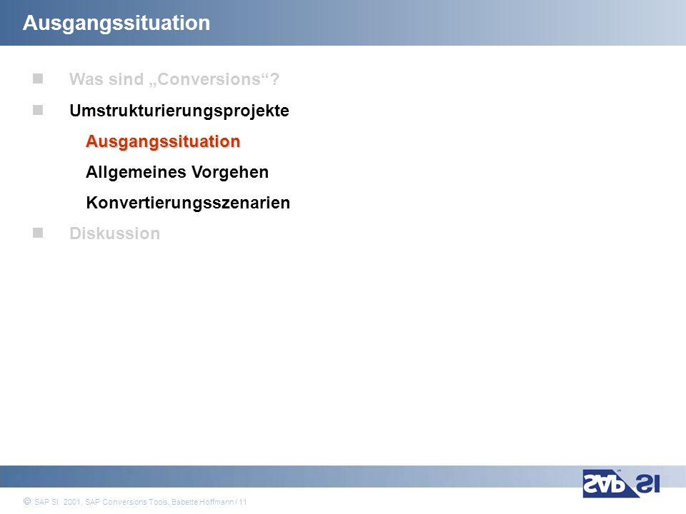 SAP Systems Integration AG 2001 / 11 SAP SI 2001, SAP Conversions Tools, Babette Hoffmann / 11 Ausgangssituation Was sind Conversions? Umstrukturierun