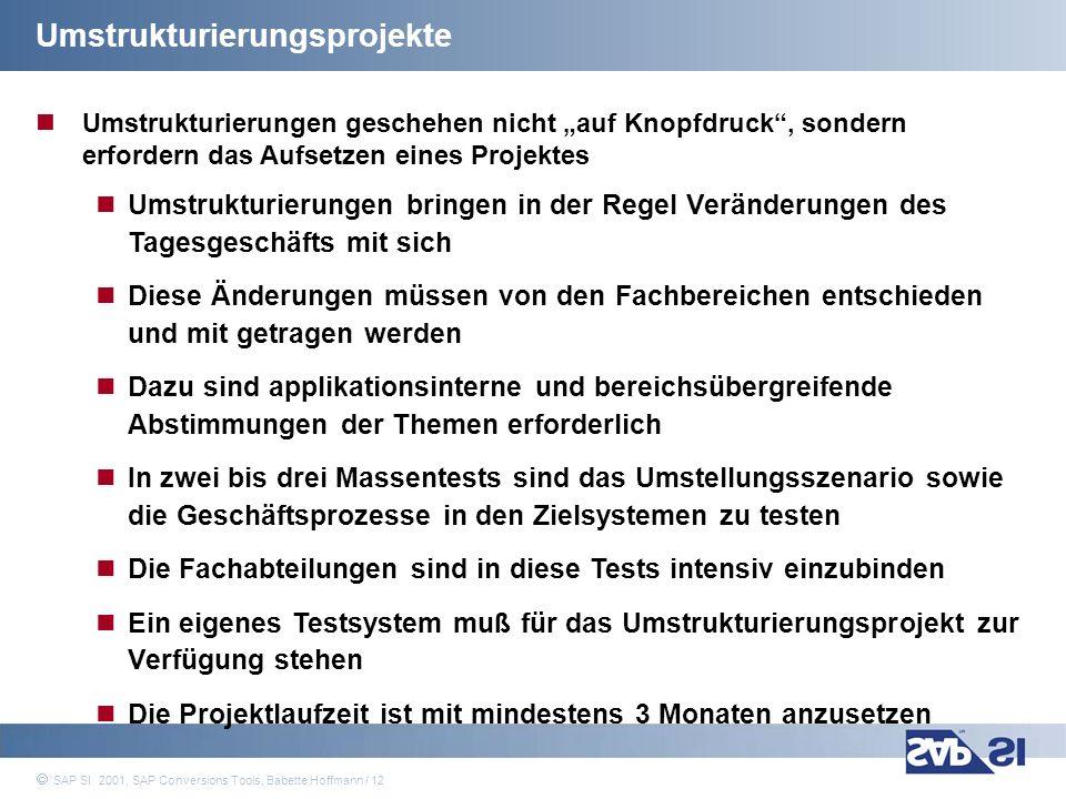 SAP Systems Integration AG 2001 / 12 SAP SI 2001, SAP Conversions Tools, Babette Hoffmann / 12 Umstrukturierungsprojekte Umstrukturierungen geschehen