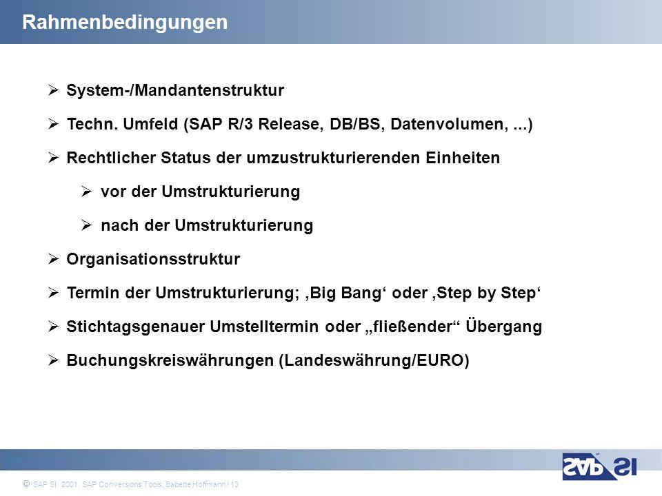 SAP Systems Integration AG 2001 / 13 SAP SI 2001, SAP Conversions Tools, Babette Hoffmann / 13 Rahmenbedingungen System-/Mandantenstruktur Techn. Umfe