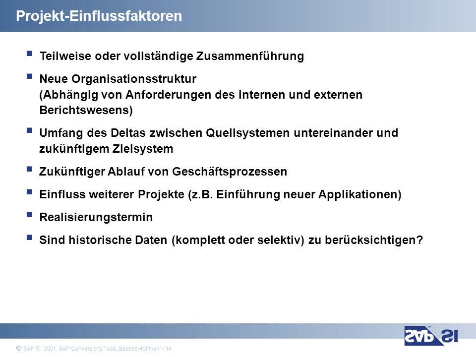 SAP Systems Integration AG 2001 / 14 SAP SI 2001, SAP Conversions Tools, Babette Hoffmann / 14 Teilweise oder vollständige Zusammenführung Neue Organi
