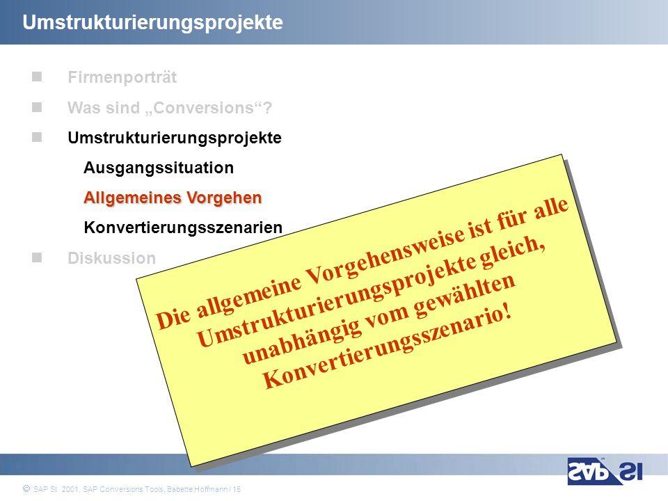 SAP Systems Integration AG 2001 / 15 SAP SI 2001, SAP Conversions Tools, Babette Hoffmann / 15 Umstrukturierungsprojekte Firmenporträt Was sind Conver
