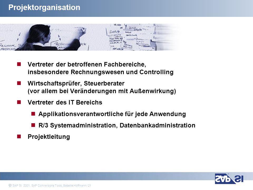 SAP Systems Integration AG 2001 / 21 SAP SI 2001, SAP Conversions Tools, Babette Hoffmann / 21 Projektorganisation Vertreter der betroffenen Fachberei