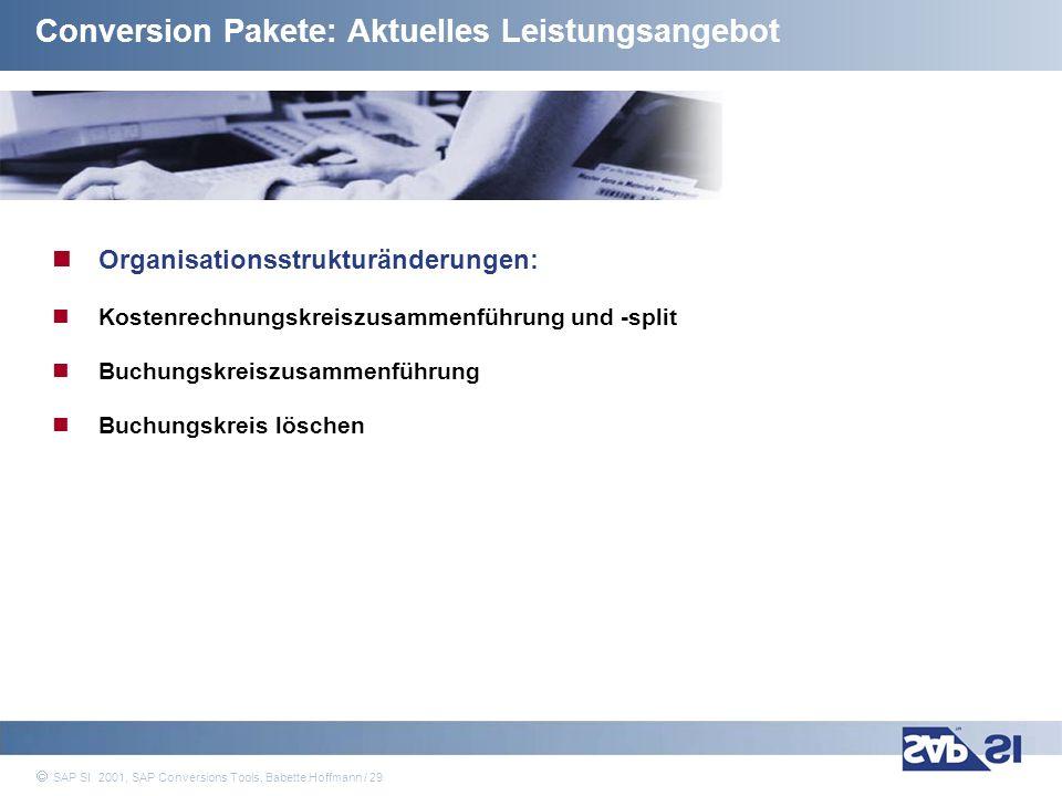 SAP Systems Integration AG 2001 / 29 SAP SI 2001, SAP Conversions Tools, Babette Hoffmann / 29 Conversion Pakete: Aktuelles Leistungsangebot Organisat