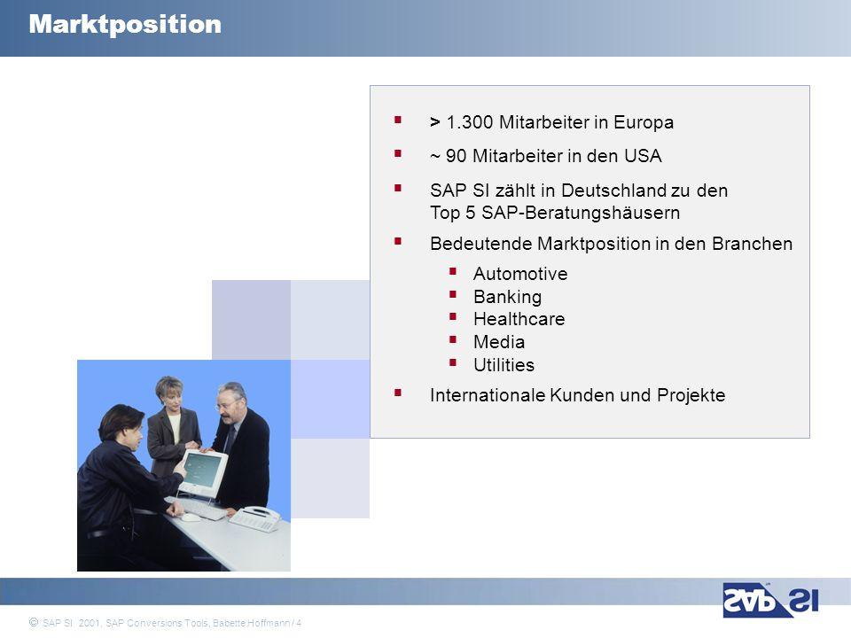 SAP Systems Integration AG 2001 / 35 SAP SI 2001, SAP Conversions Tools, Babette Hoffmann / 35 Vorteile und Stärken: große Auswahl an Datenkonvertierungstechniken (Festwerte, Umschlüsselung, ABAP Coding, etc.) Pflege der Festwerte an einer zentralen Stelle: Migrationscustomizing Konvertierungsprogramm wird generiert unter Berücksichtigung von Konvertierungsregeln Prüfung gegen SAP Customizing bevor importiert wird Kostenlos für Kunden und Partner der SAP die migrierten Daten sind im SAP konsistent benutzerfreundlich bei Nutzung der SAP-Standard Import Programme in der Regel ist nur wenig Programmierung notwendig ermöglicht den Datentransfer der wichtigsten Stamm- und Bewegungsdaten LSMW