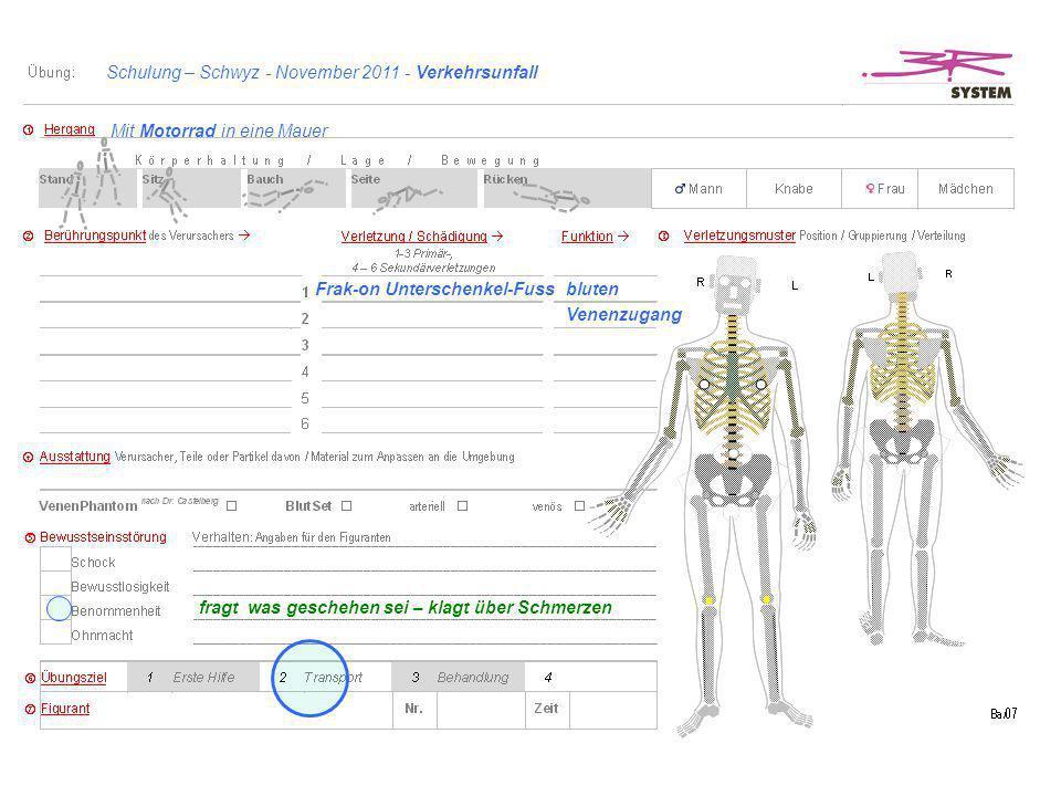 Schulung – Schwyz - November 2011 - Verkehrsunfall Frak-on Unterschenkel-Fuss fragt was geschehen sei – klagt über Schmerzen Mit Motorrad in eine Maue