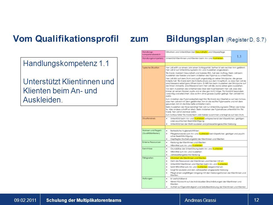 09.02.2011Andreas Grassi 12 Schulung der Multiplikatorenteams Vom Qualifikationsprofil zum Bildungsplan (Register D, S.7) Handlungskompetenz 1.1 Unter
