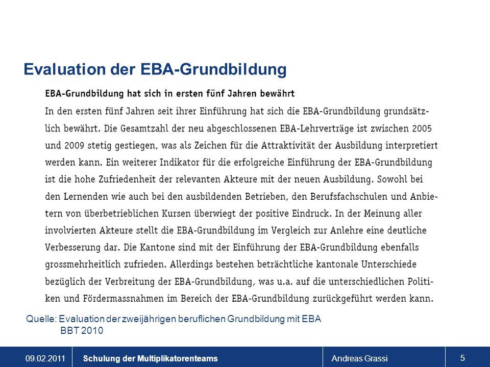 09.02.2011Andreas Grassi 5 Schulung der Multiplikatorenteams Evaluation der EBA-Grundbildung Quelle: Evaluation der zweijährigen beruflichen Grundbild