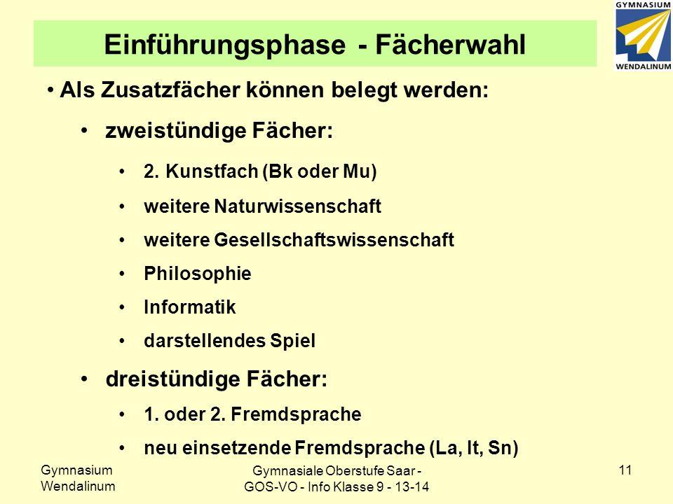 Gymnasium Wendalinum 11 Einführungsphase - Fächerwahl Als Zusatzfächer können belegt werden: zweistündige Fächer: 2.