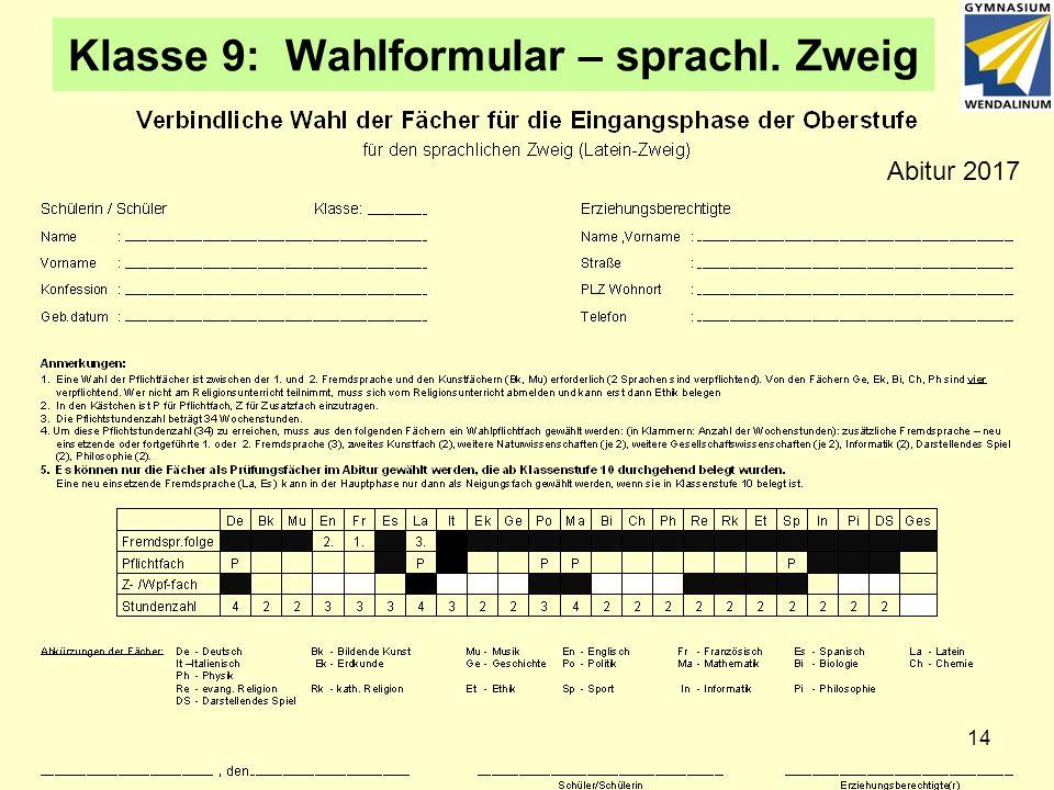 Klasse 9: Wahlformular – sprachl. Zweig 14 Abitur 2017