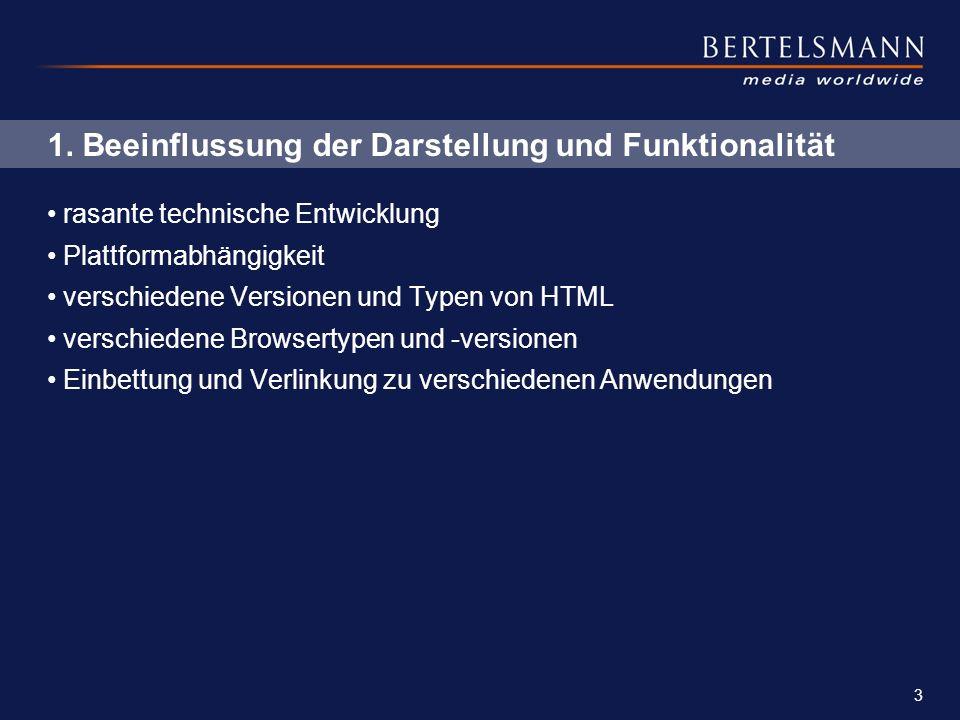 3 1. Beeinflussung der Darstellung und Funktionalität rasante technische Entwicklung Plattformabhängigkeit verschiedene Versionen und Typen von HTML v