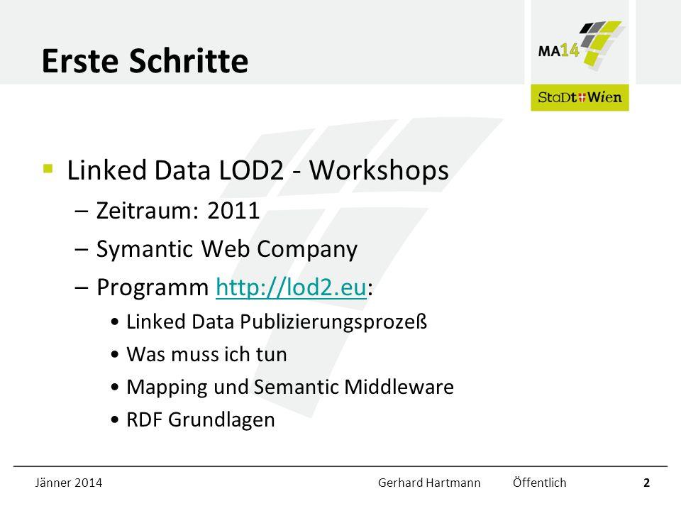 Jänner 2014Gerhard Hartmann Öffentlich2 Erste Schritte Linked Data LOD2 - Workshops –Zeitraum: 2011 –Symantic Web Company –Programm http://lod2.eu:htt
