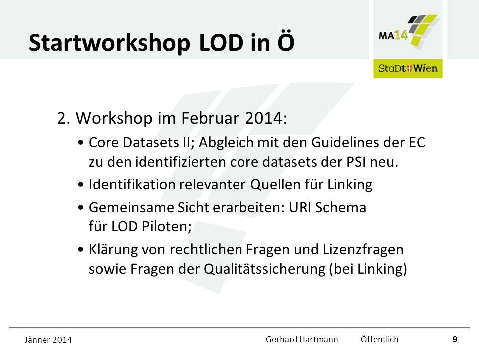 Startworkshop LOD in Ö 2. Workshop im Februar 2014: Core Datasets II; Abgleich mit den Guidelines der EC zu den identifizierten core datasets der PSI