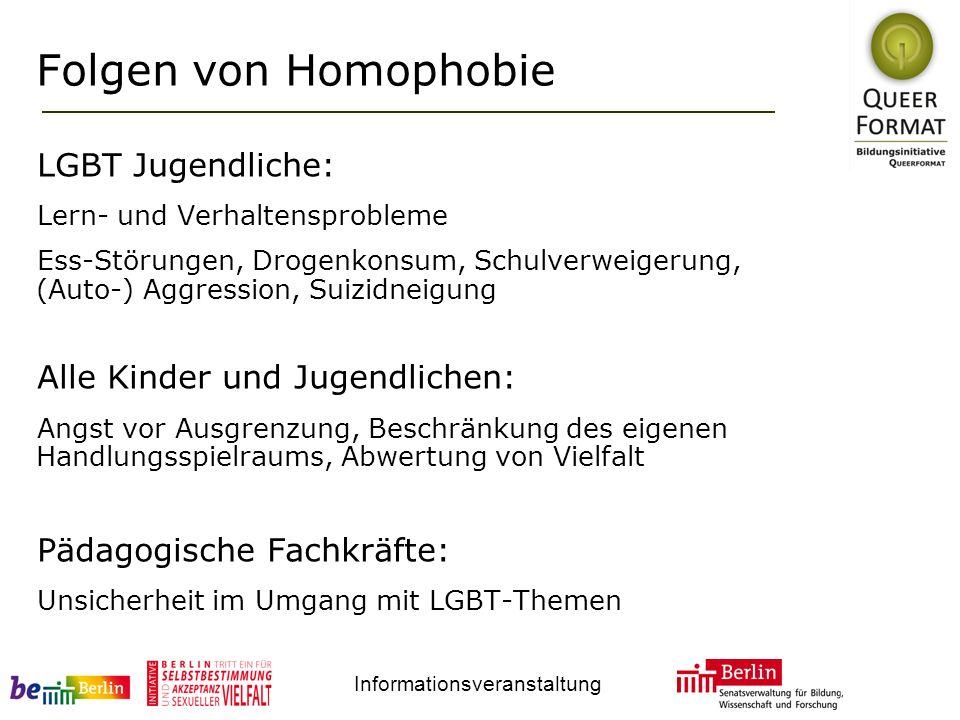 Informationsveranstaltung Folgen von Homophobie LGBT Jugendliche: Lern- und Verhaltensprobleme Ess-Störungen, Drogenkonsum, Schulverweigerung, (Auto-)