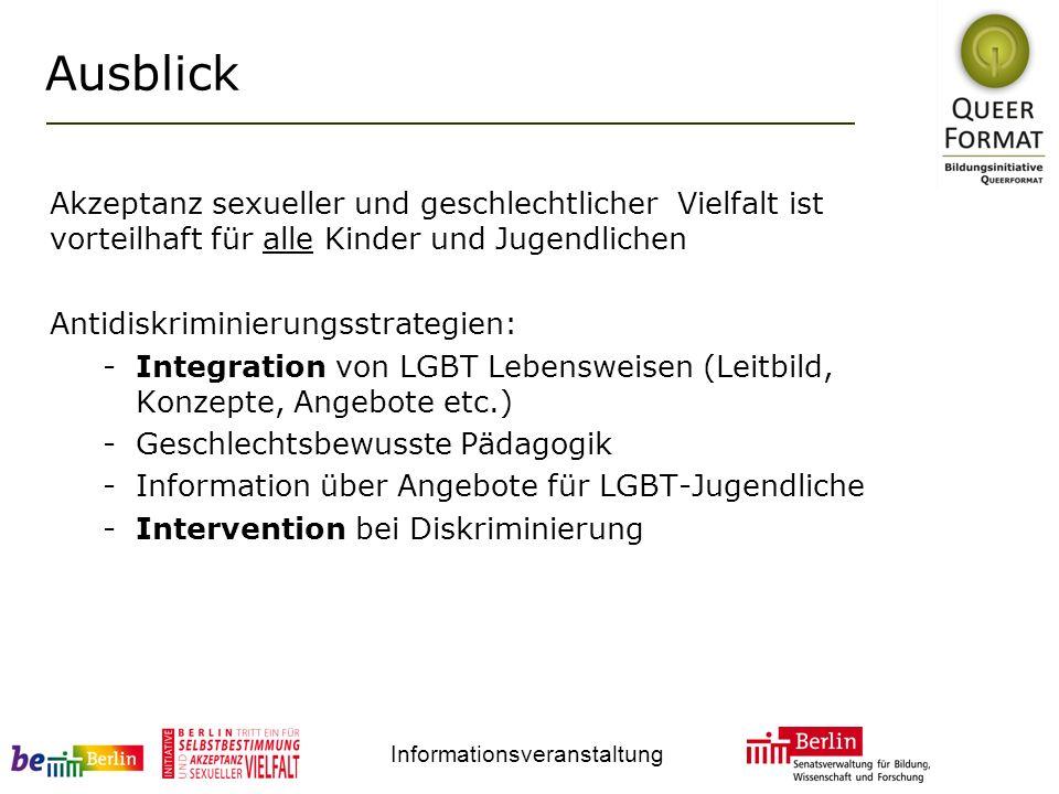 Informationsveranstaltung Ausblick Akzeptanz sexueller und geschlechtlicher Vielfalt ist vorteilhaft für alle Kinder und Jugendlichen Antidiskriminierungsstrategien: -Integration von LGBT Lebensweisen (Leitbild, Konzepte, Angebote etc.) -Geschlechtsbewusste Pädagogik -Information über Angebote für LGBT-Jugendliche -Intervention bei Diskriminierung