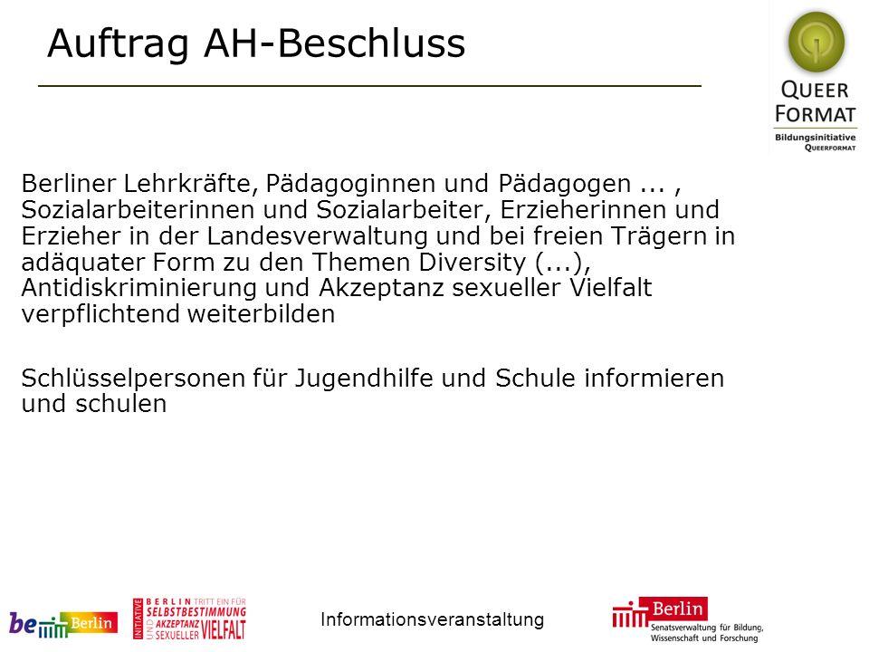 Informationsveranstaltung Auftrag AH-Beschluss Berliner Lehrkräfte, Pädagoginnen und Pädagogen..., Sozialarbeiterinnen und Sozialarbeiter, Erzieherinn