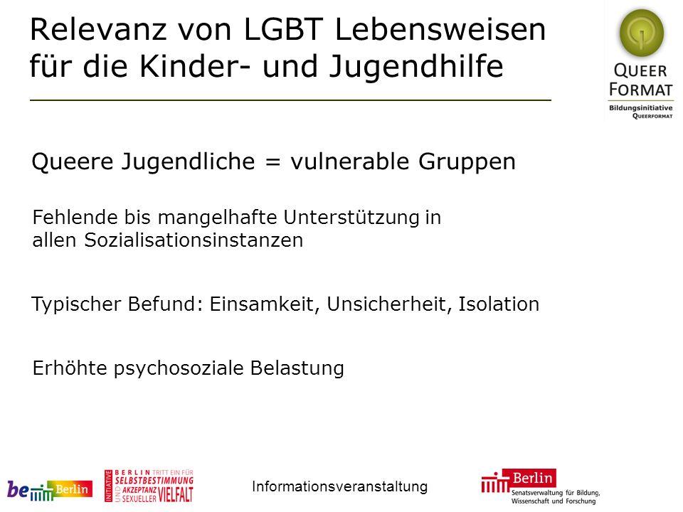 Informationsveranstaltung Relevanz von LGBT Lebensweisen für die Kinder- und Jugendhilfe Queere Jugendliche = vulnerable Gruppen Fehlende bis mangelha
