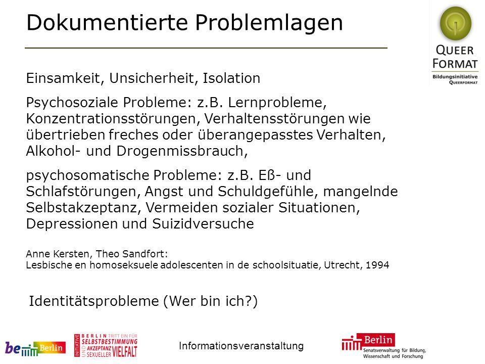 Informationsveranstaltung Dokumentierte Problemlagen Einsamkeit, Unsicherheit, Isolation Psychosoziale Probleme: z.B.