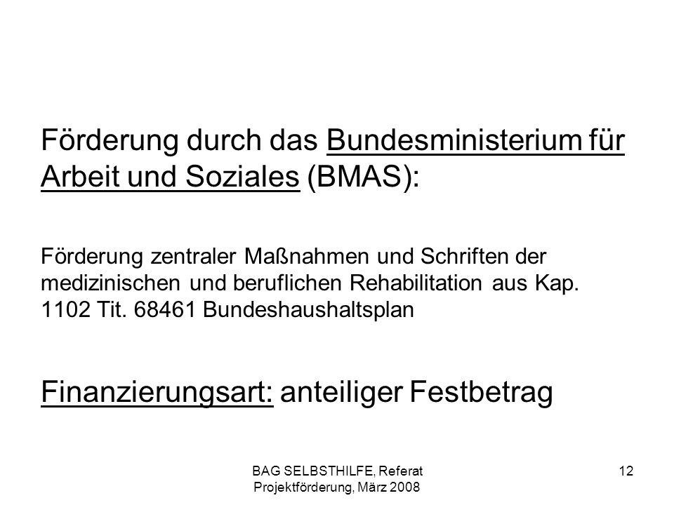 BAG SELBSTHILFE, Referat Projektförderung, März 2008 12 Förderung durch das Bundesministerium für Arbeit und Soziales (BMAS): Förderung zentraler Maßn