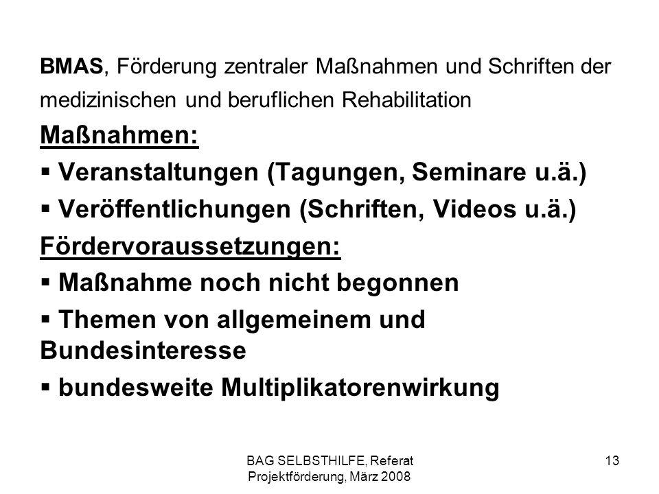 BAG SELBSTHILFE, Referat Projektförderung, März 2008 13 BMAS, Förderung zentraler Maßnahmen und Schriften der medizinischen und beruflichen Rehabilita