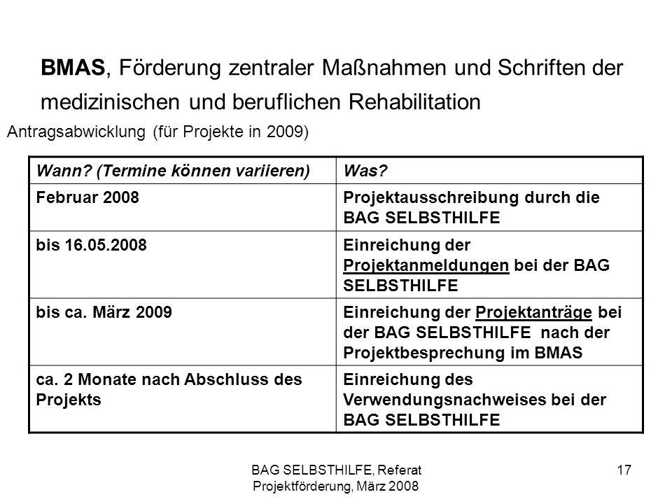 BAG SELBSTHILFE, Referat Projektförderung, März 2008 17 BMAS, Förderung zentraler Maßnahmen und Schriften der medizinischen und beruflichen Rehabilita