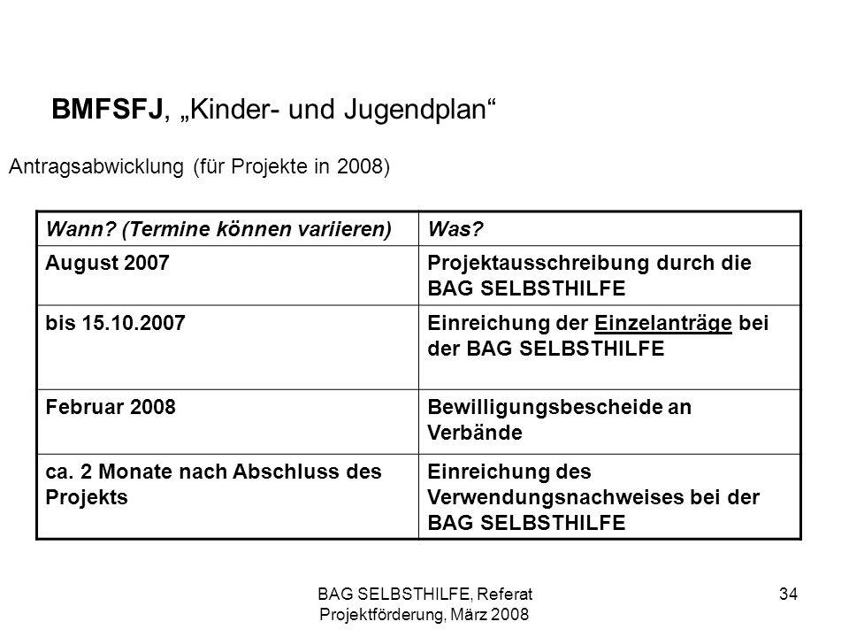 BAG SELBSTHILFE, Referat Projektförderung, März 2008 34 BMFSFJ, Kinder- und Jugendplan Antragsabwicklung (für Projekte in 2008) Wann? (Termine können
