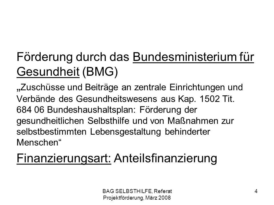 BAG SELBSTHILFE, Referat Projektförderung, März 2008 35 BMFSFJ, Kinder- und Jugendplan Zuständigkeit bei der BAG SELBSTHILFE Marion Altmann Tel.:0211 – 31006 – 40 Fax:0211 – 31006 – 48 (Zentrale), - 31006 - 63 (direkt) E-Mail:altmann@bag-selbsthilfe.dealtmann@bag-selbsthilfe.de