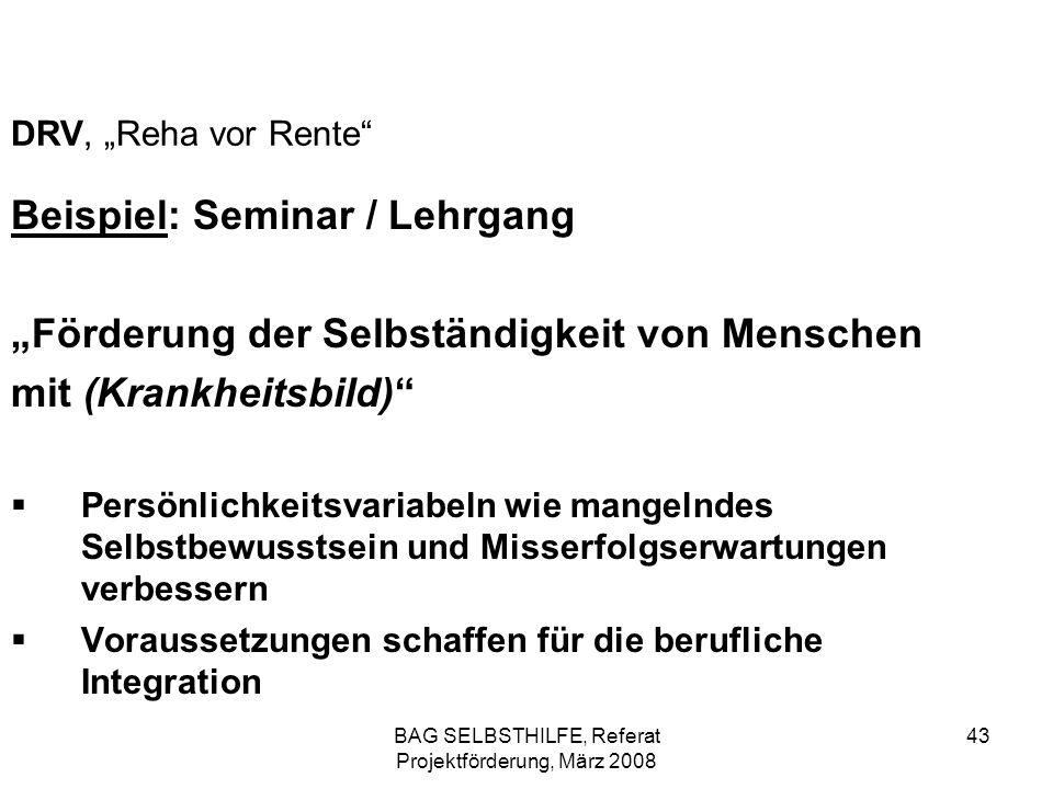 BAG SELBSTHILFE, Referat Projektförderung, März 2008 43 DRV, Reha vor Rente Beispiel: Seminar / Lehrgang Förderung der Selbständigkeit von Menschen mi