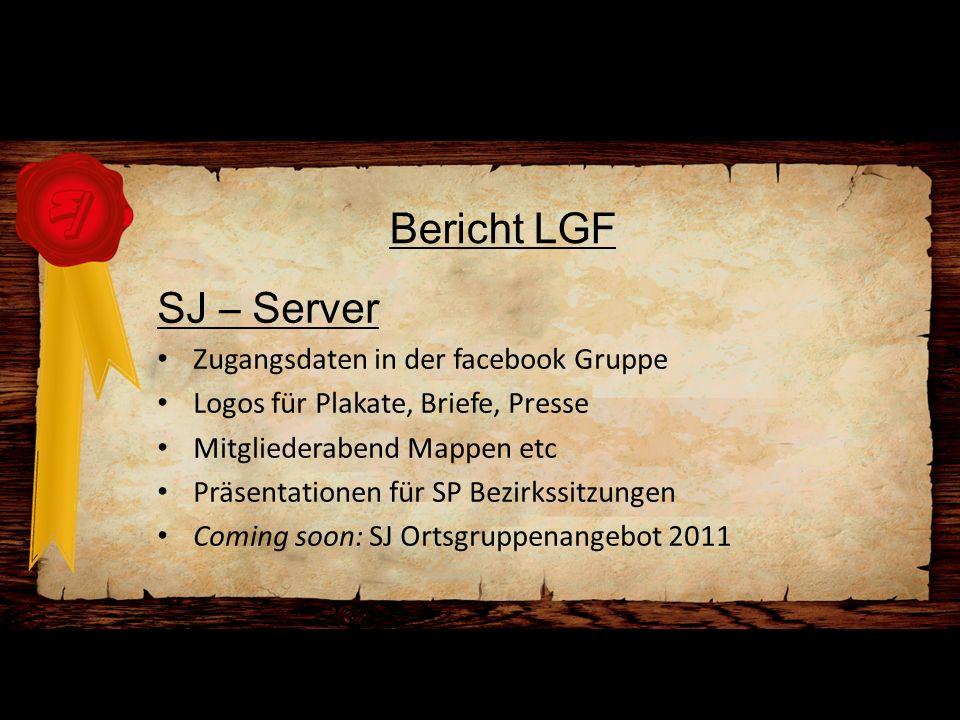 Bericht LGF SJ – Server Zugangsdaten in der facebook Gruppe Logos für Plakate, Briefe, Presse Mitgliederabend Mappen etc Präsentationen für SP Bezirks