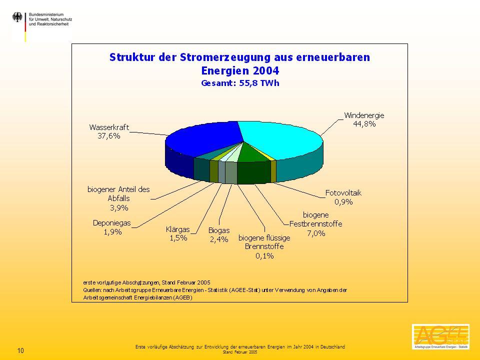 Erste vorläufige Abschätzung zur Entwicklung der erneuerbaren Energien im Jahr 2004 in Deutschland Stand Februar 2005 10