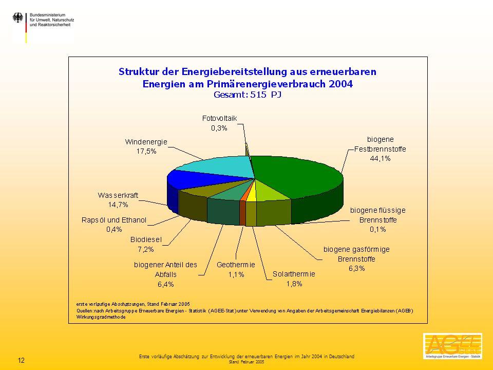 Erste vorläufige Abschätzung zur Entwicklung der erneuerbaren Energien im Jahr 2004 in Deutschland Stand Februar 2005 12