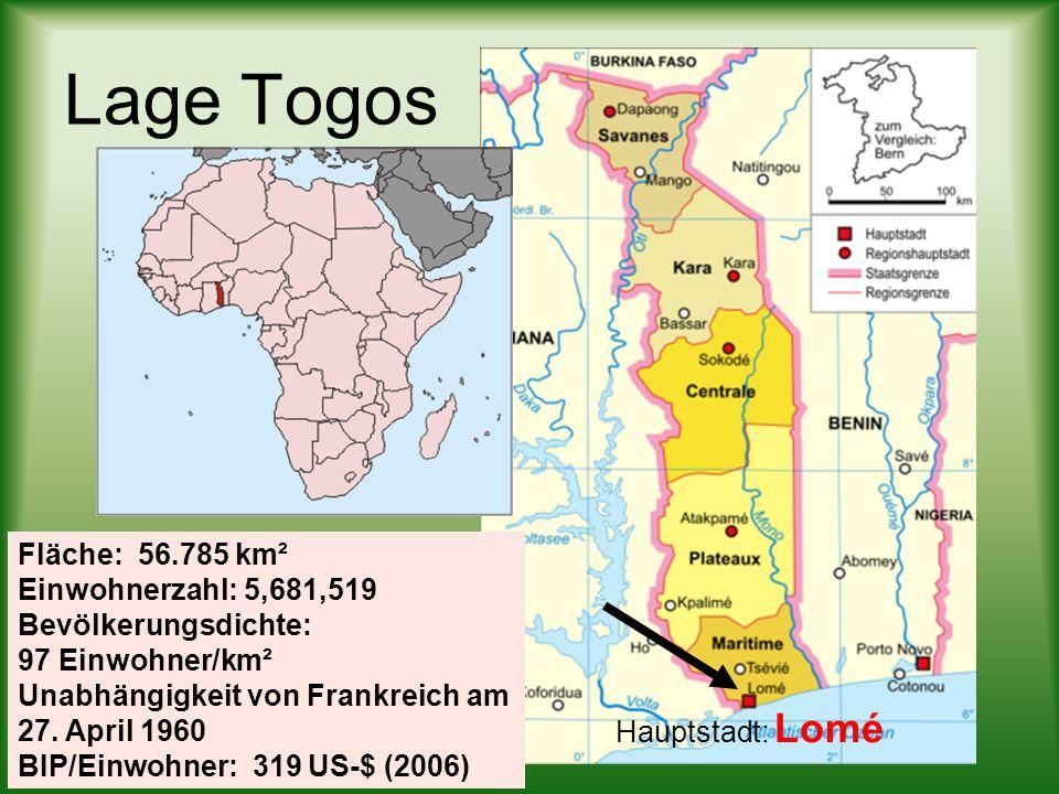 Lage Togos Hauptstadt: Lomé Fläche: 56.785 km² Einwohnerzahl: 5,681,519 Bevölkerungsdichte: 97 Einwohner/km² Unabhängigkeit von Frankreich am 27. Apri