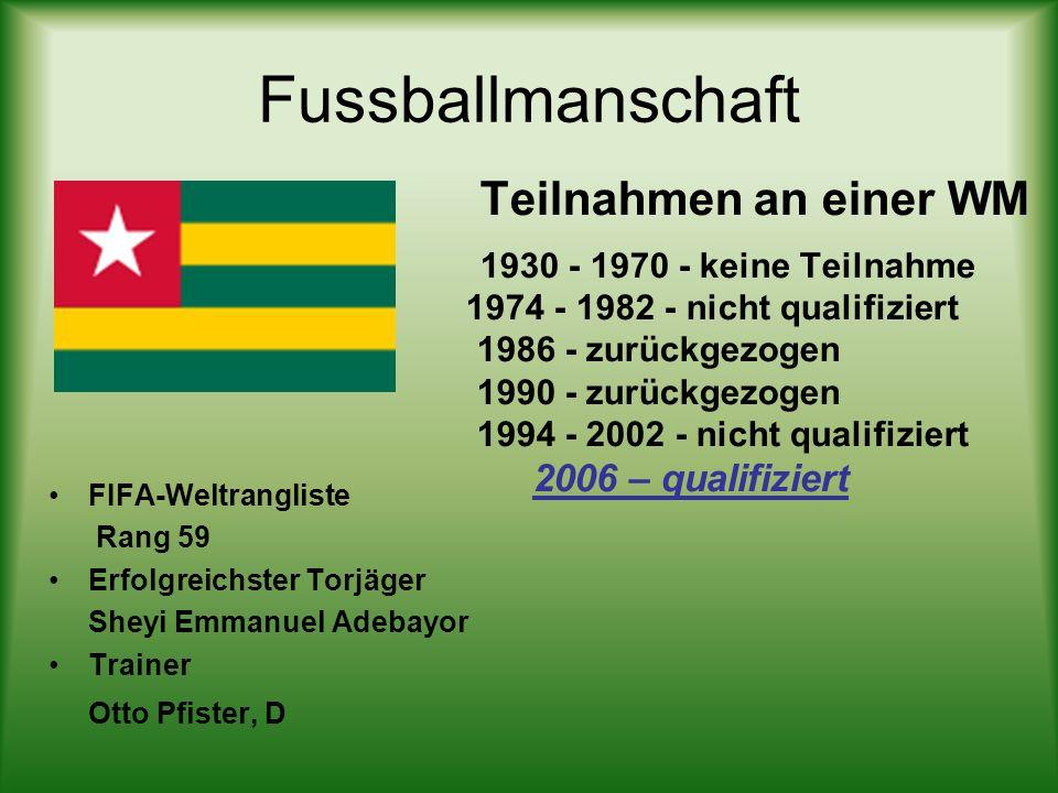 Fussballmanschaft FIFA-Weltrangliste Rang 59 Erfolgreichster Torjäger Sheyi Emmanuel Adebayor Trainer Otto Pfister, D Teilnahmen an einer WM 1930 - 19