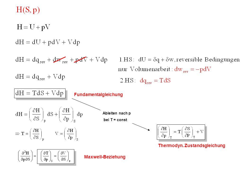 Fundamentalgleichung Maxwell-Beziehung Ableiten nach p bei T = const Thermodyn. Zustandsgleichung