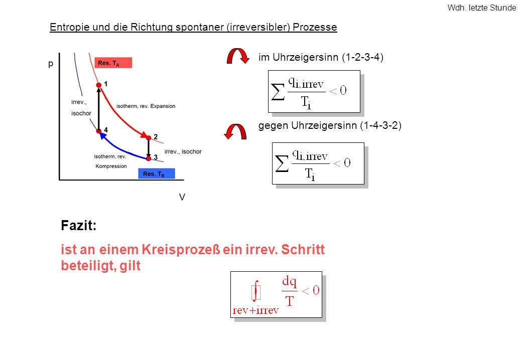 Entropie und die Richtung spontaner (irreversibler) Prozesse im Uhrzeigersinn (1-2-3-4) gegen Uhrzeigersinn (1-4-3-2) Fazit: ist an einem Kreisprozeß