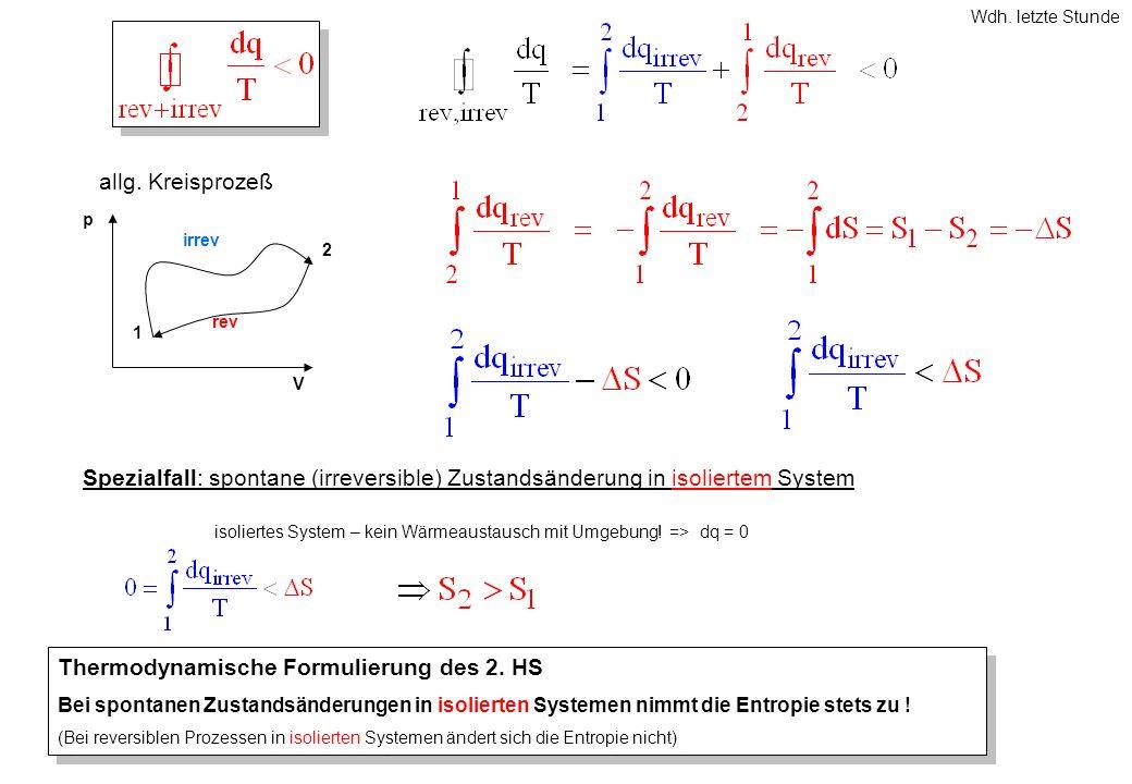 p V 1 2 irrev rev allg. Kreisprozeß Spezialfall: spontane (irreversible) Zustandsänderung in isoliertem System isoliertes System – kein Wärmeaustausch