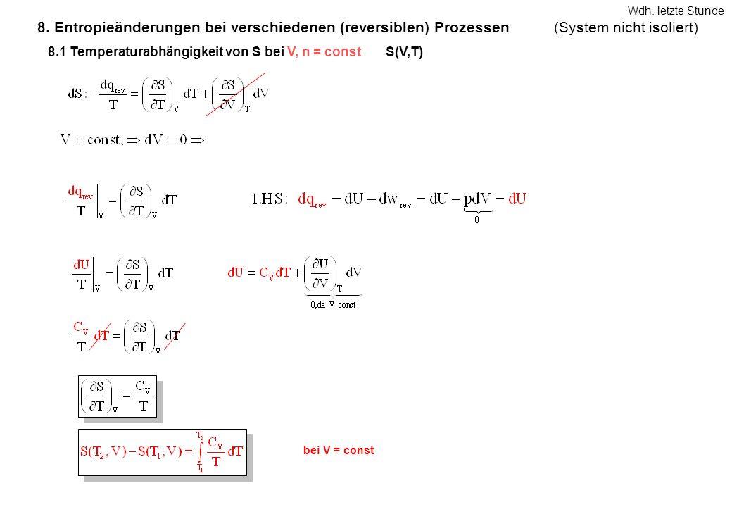 8. Entropieänderungen bei verschiedenen (reversiblen) Prozessen bei V = const 8.1 Temperaturabhängigkeit von S bei V, n = constS(V,T) (System nicht is