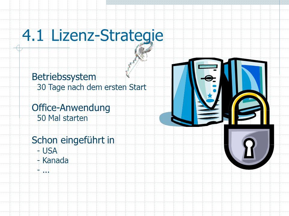 4.2Lizenz-Strategie 5 Jahre-Produktzyklus Phase 1 (Mainstream) 3 Jahre : kompletter Support und BugFix Phase 2 (Extended) 1 Jahr : kein Vertrieb mehr BugFix kostenpflichtig Phase 3 (Non-Supported) 1 Jahr : keine BugFixes mehr, nur noch Online-Help-DB
