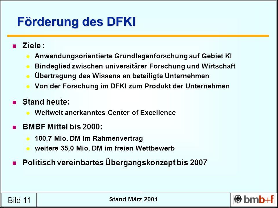 Bild 11 Stand März 2001 Förderung des DFKI n Ziele : l Anwendungsorientierte Grundlagenforschung auf Gebiet KI l Bindeglied zwischen universitärer For