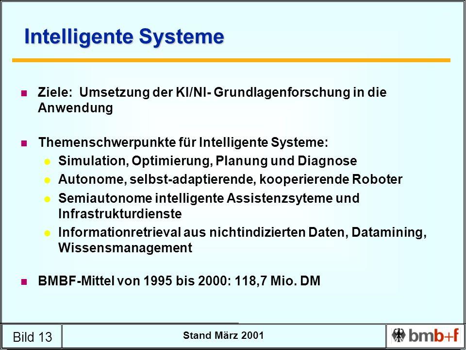 Bild 13 Stand März 2001 Intelligente Systeme n Ziele: Umsetzung der KI/NI- Grundlagenforschung in die Anwendung n Themenschwerpunkte für Intelligente