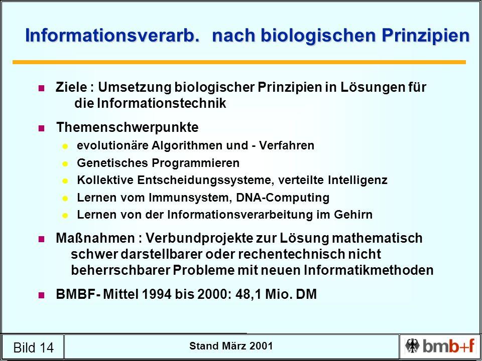 Bild 14 Stand März 2001 Informationsverarb. nach biologischen Prinzipien n Ziele : Umsetzung biologischer Prinzipien in Lösungen für die Informationst