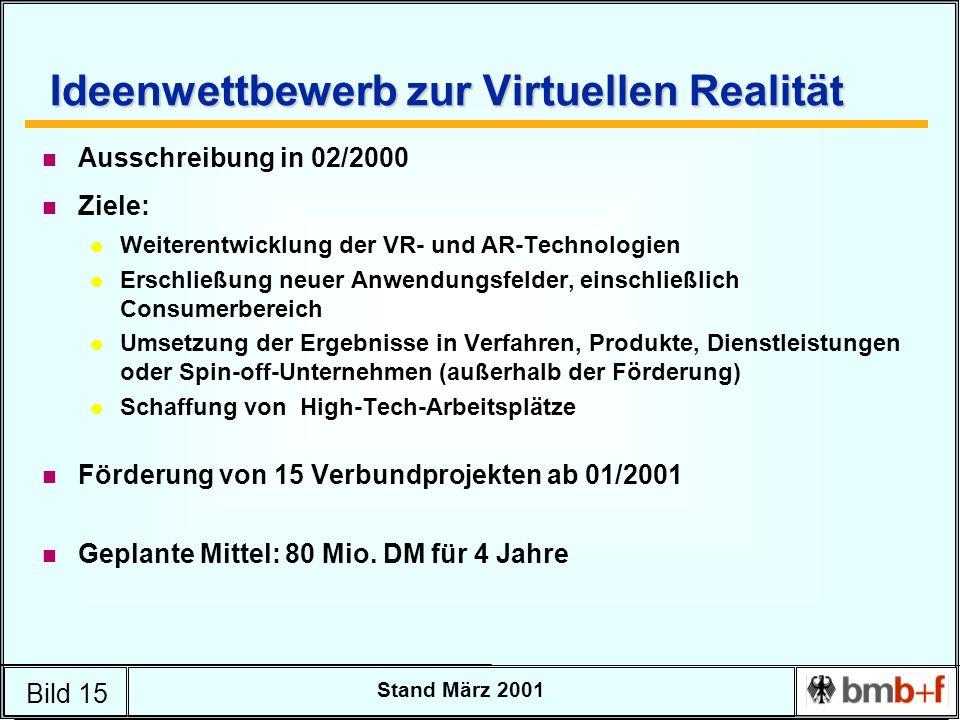Bild 15 Stand März 2001 Ideenwettbewerb zur Virtuellen Realität n Ausschreibung in 02/2000 n Ziele: l Weiterentwicklung der VR- und AR-Technologien l