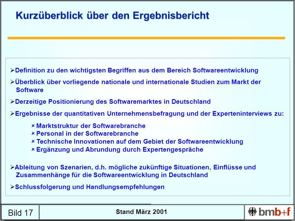 Bild 17 Stand März 2001 Kurzüberblick über den Ergebnisbericht Definition zu den wichtigsten Begriffen aus dem Bereich Softwareentwicklung Überblick ü