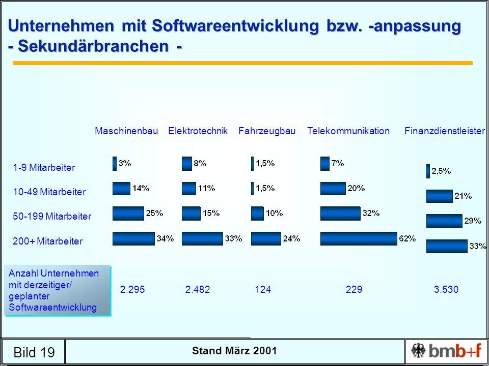 Bild 19 Stand März 2001 Unternehmen mit Softwareentwicklung bzw. -anpassung - Sekundärbranchen - 1-9 Mitarbeiter 10-49 Mitarbeiter 50-199 Mitarbeiter